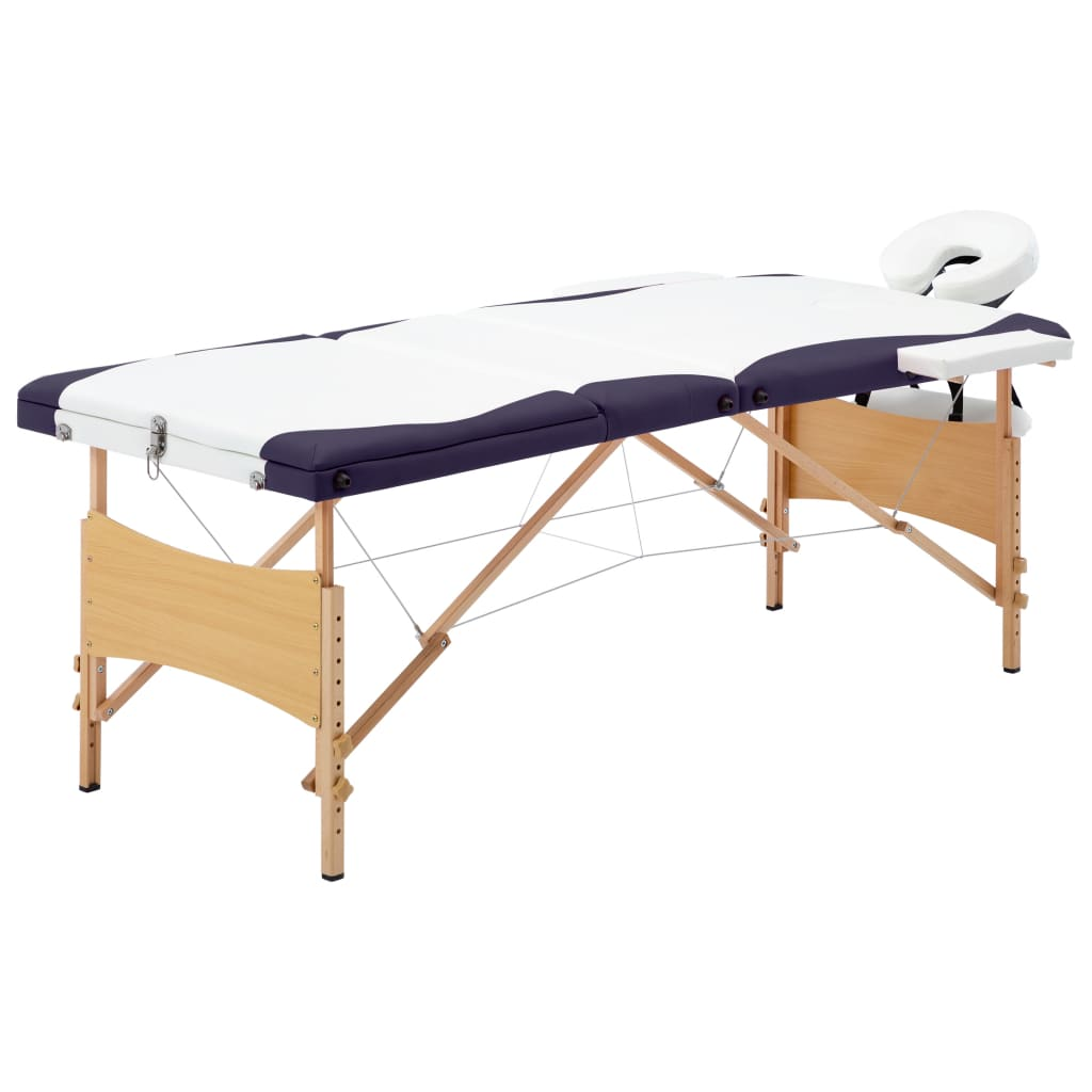 Skládací masážní stůl 3 zóny dřevo bílo-fialový