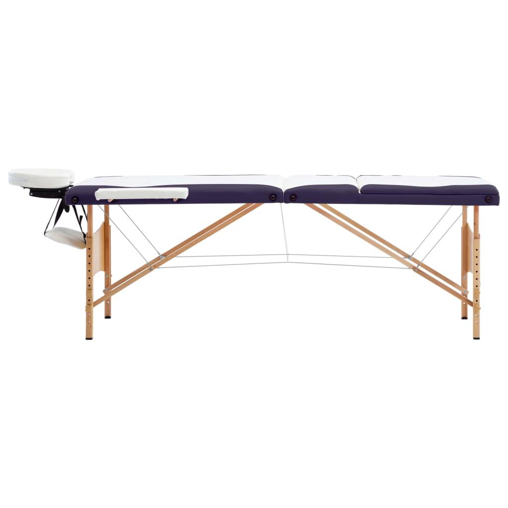 vidaXL Skládací masážní stůl 3 zóny dřevo bílo-fialový