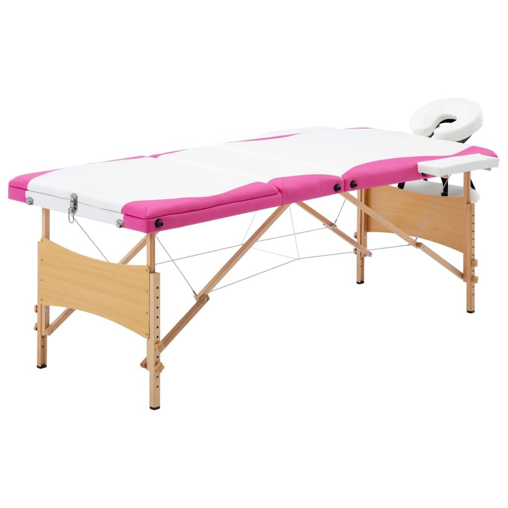 vidaXL Masă pliabilă de masaj, 3 zone, alb și roz, lemn vidaxl.ro
