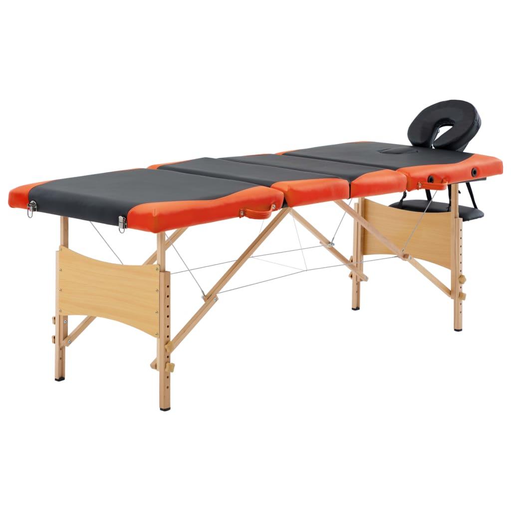 vidaXL Masă pliabilă de masaj, 4 zone, negru și portocaliu, lemn vidaxl.ro