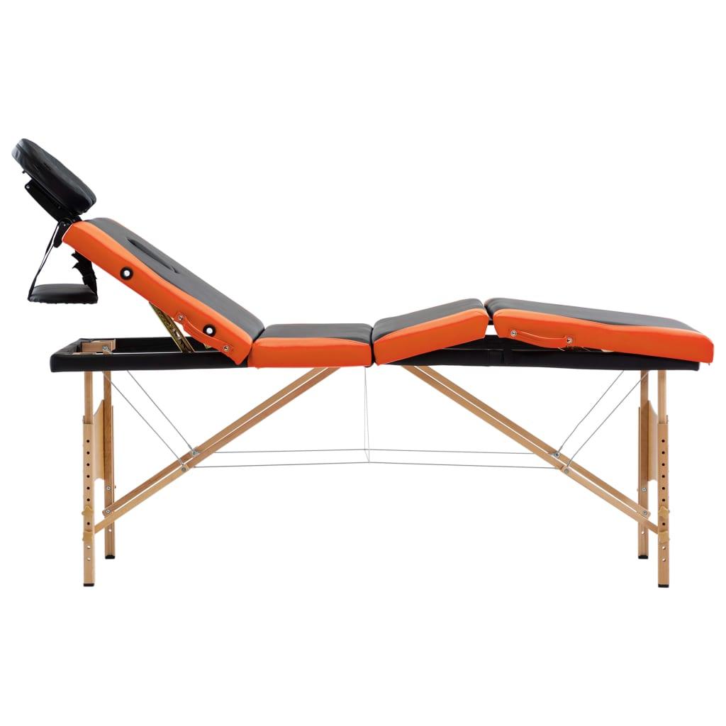 vidaXL Skládací masážní stůl 4 zóny dřevo černo-oranžový