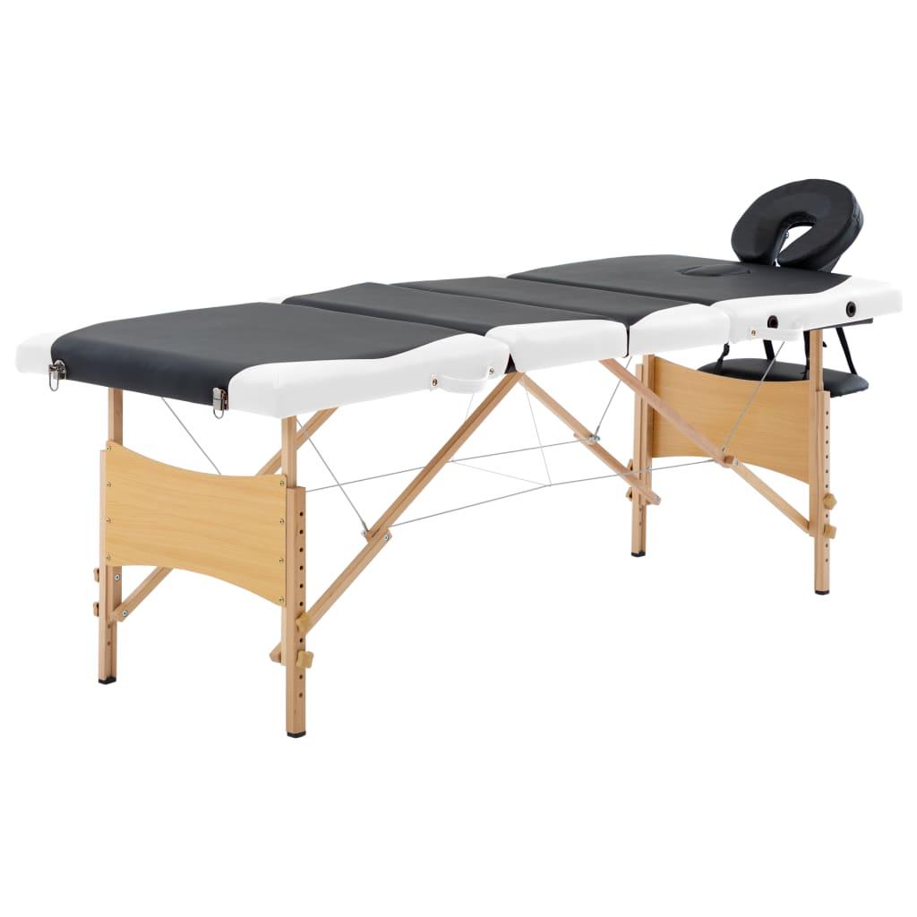 Skládací masážní stůl 4 zóny dřevo černobílý