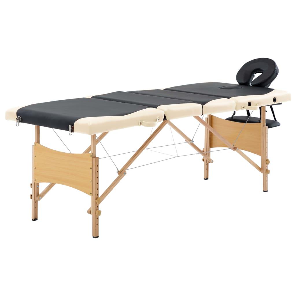 vidaXL Masă pliabilă de masaj, 4 zone, negru și bej, lemn vidaxl.ro