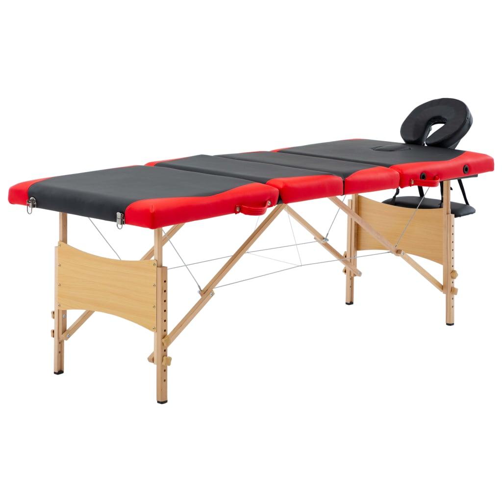 vidaXL Masă pliabilă de masaj, 4 zone, negru și roșu, lemn vidaxl.ro