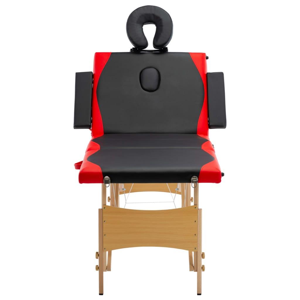 vidaXL Skládací masážní stůl 4 zóny dřevěný černý a červený