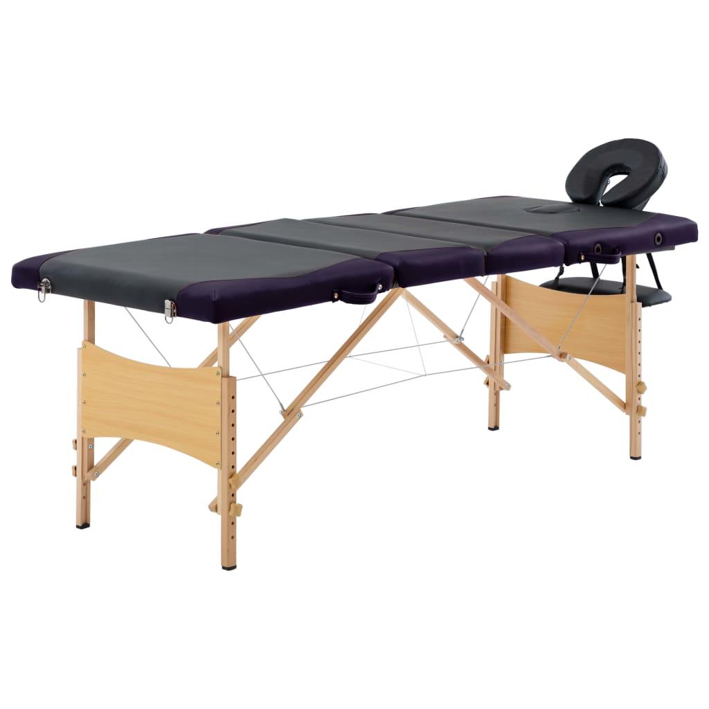 vidaXL Masă pliabilă de masaj, 4 zone, negru și violet, lemn vidaxl.ro