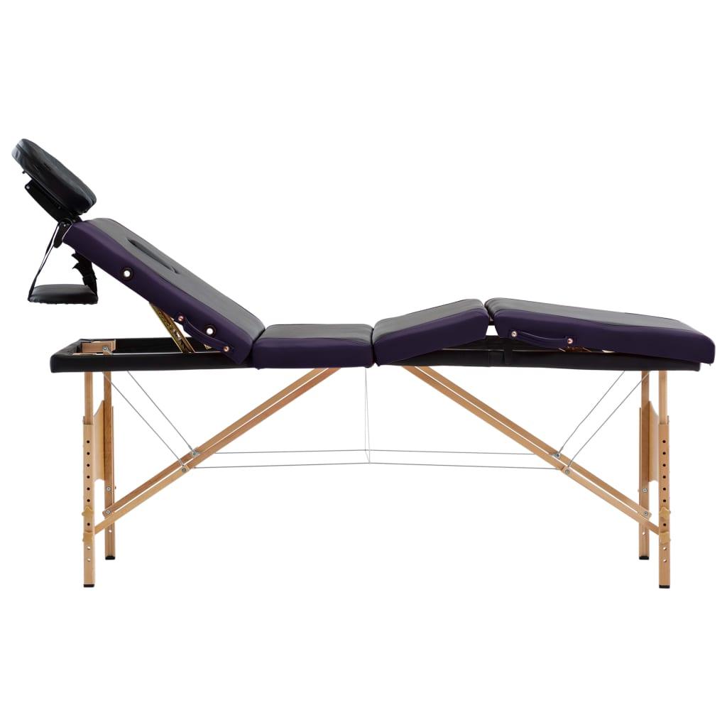 vidaXL Skládací masážní stůl 4 zóny dřevo černofialový