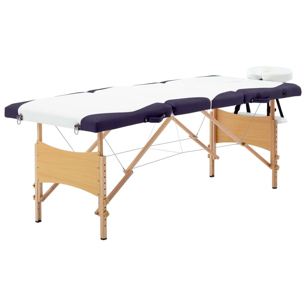 vidaXL Masă pliabilă de masaj, 4 zone, alb și violet, lemn vidaxl.ro