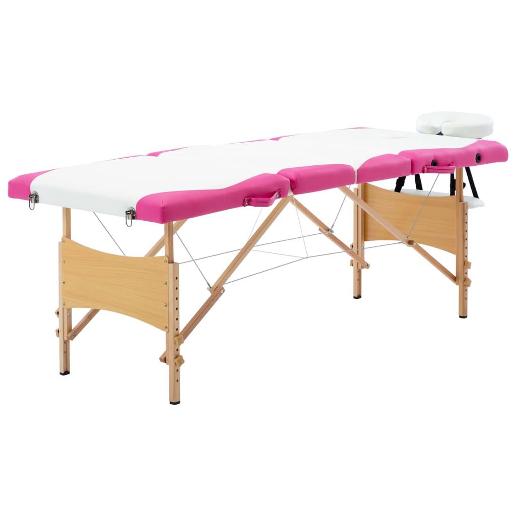 Skládací masážní stůl 4 zóny dřevěný bílý a růžový