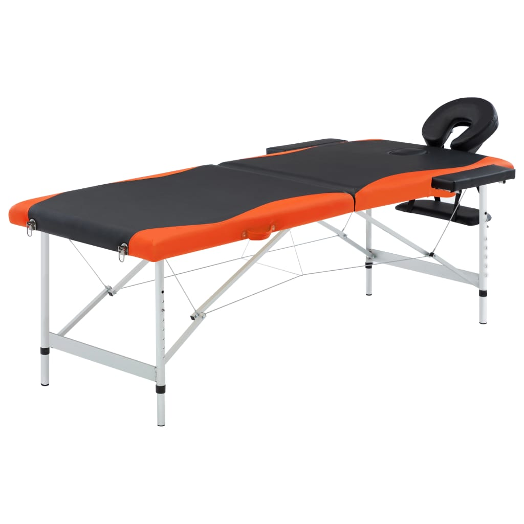 Skládací masážní stůl se 2 zónami hliník černo-oranžový