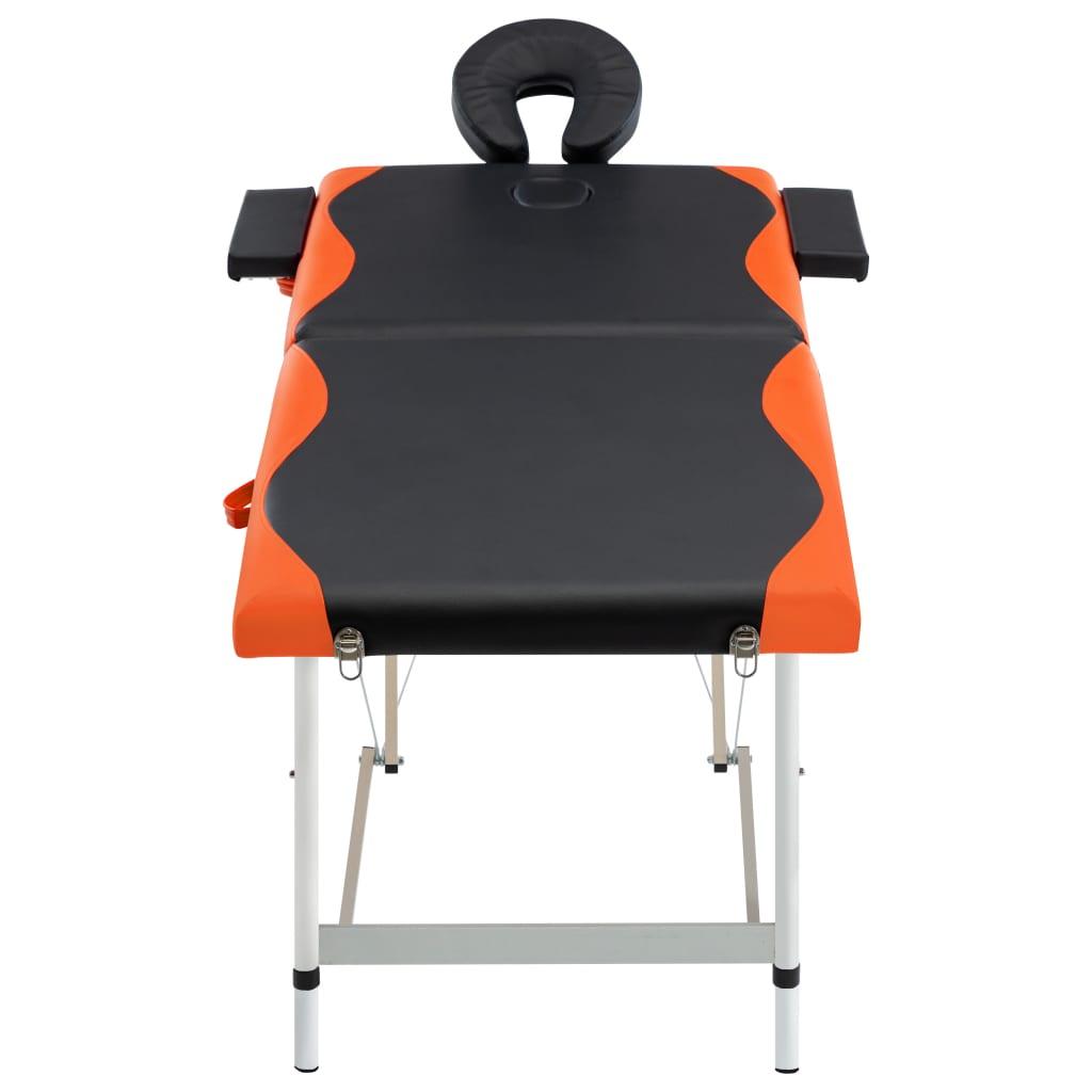 vidaXL Skládací masážní stůl se 2 zónami hliník černo-oranžový