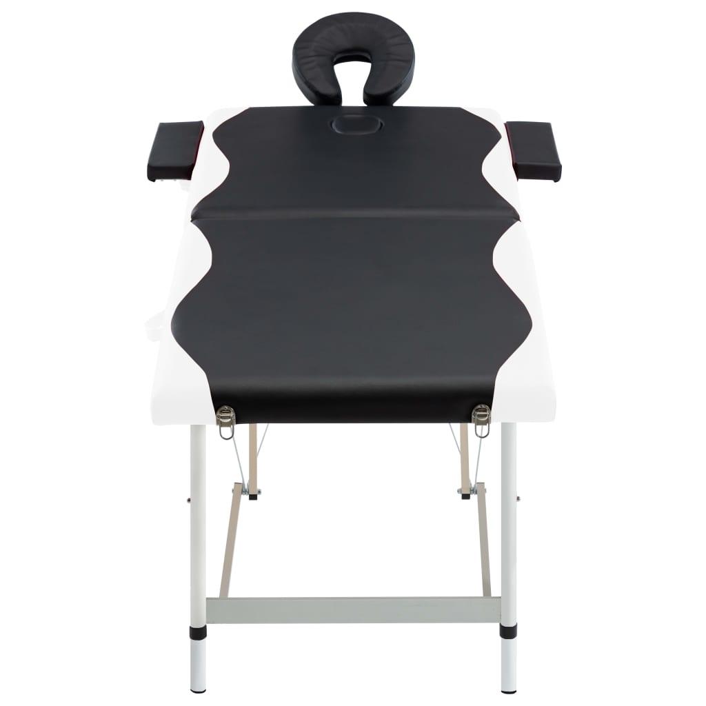 vidaXL Skládací masážní stůl se 2 zónami hliník černobílý