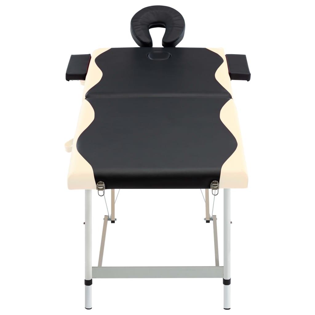 vidaXL Skládací masážní stůl se 2 zónami hliník černo-béžový
