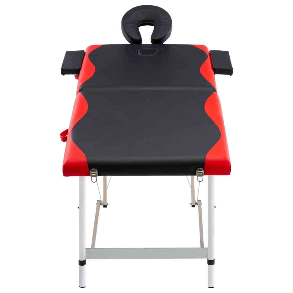 vidaXL Skládací masážní stůl se 2 zónami hliník černo-červený