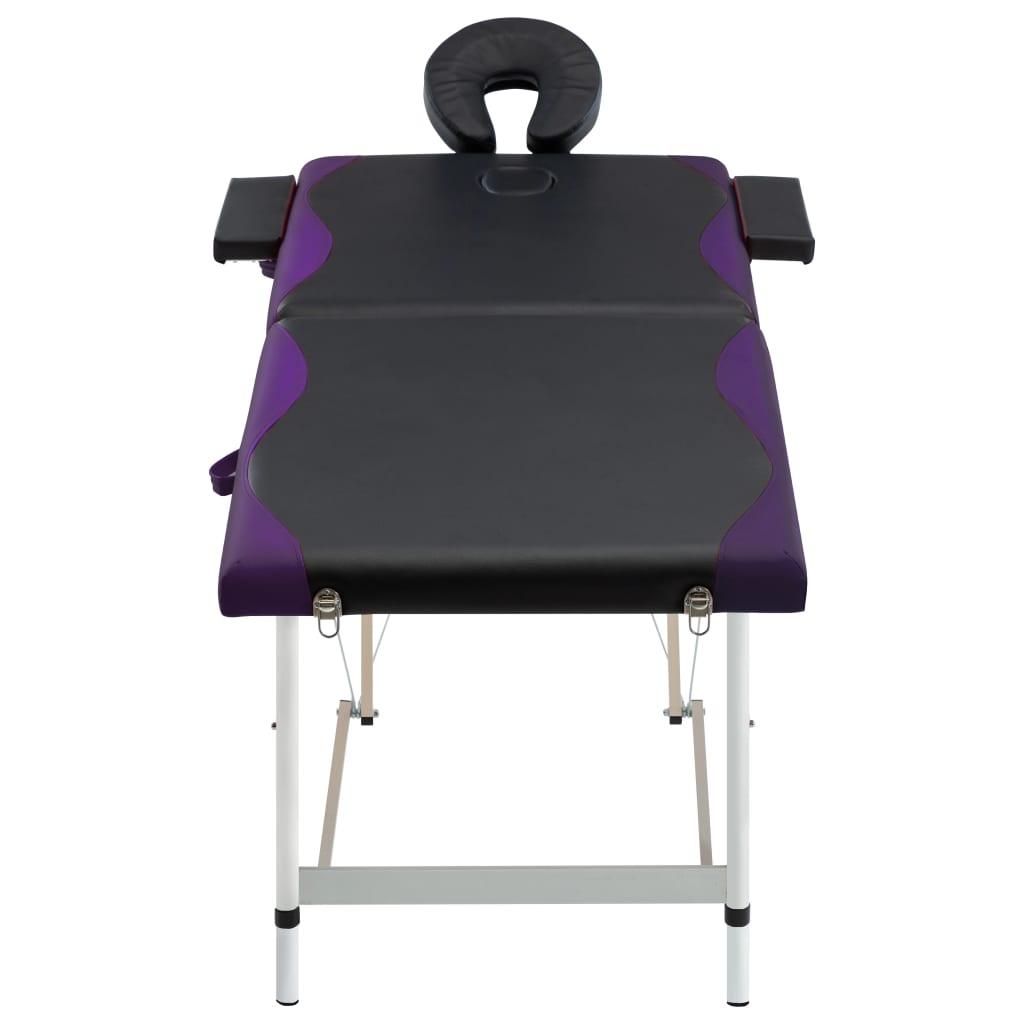 vidaXL Skládací masážní stůl se 2 zónami hliník černo-fialový