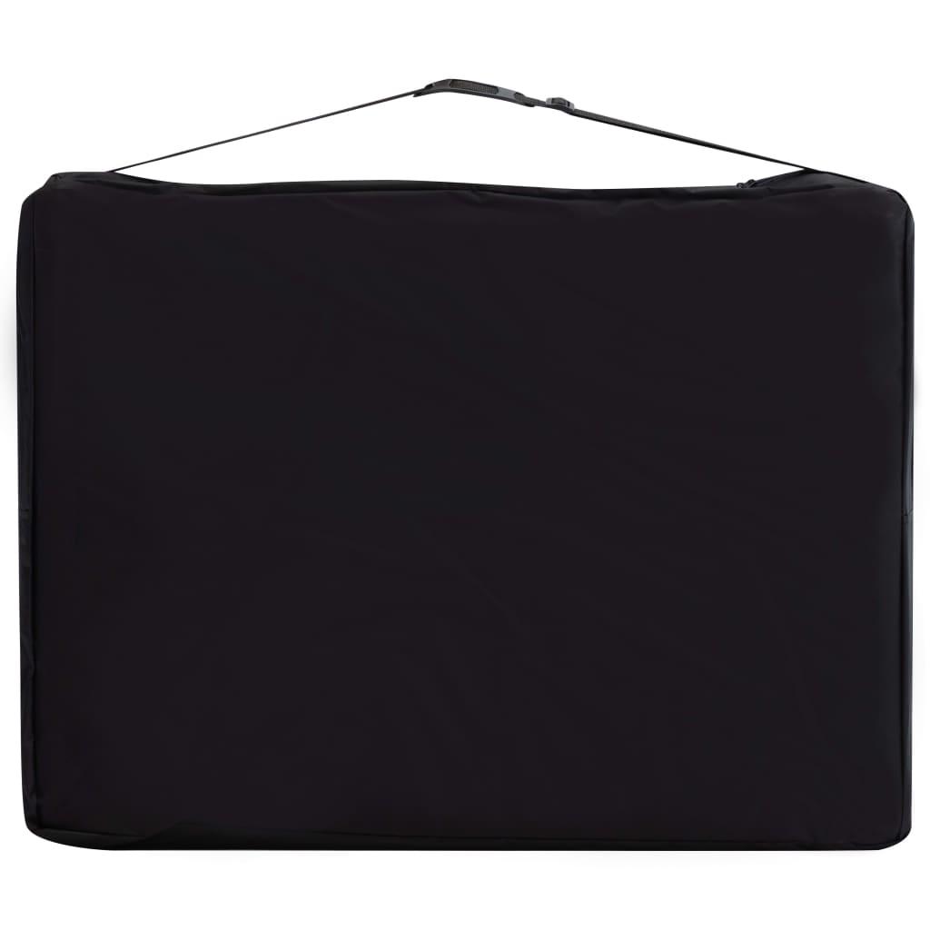 vidaXL Sklopivi masažni stol s 2 zone aluminijski crno-ljubičasti