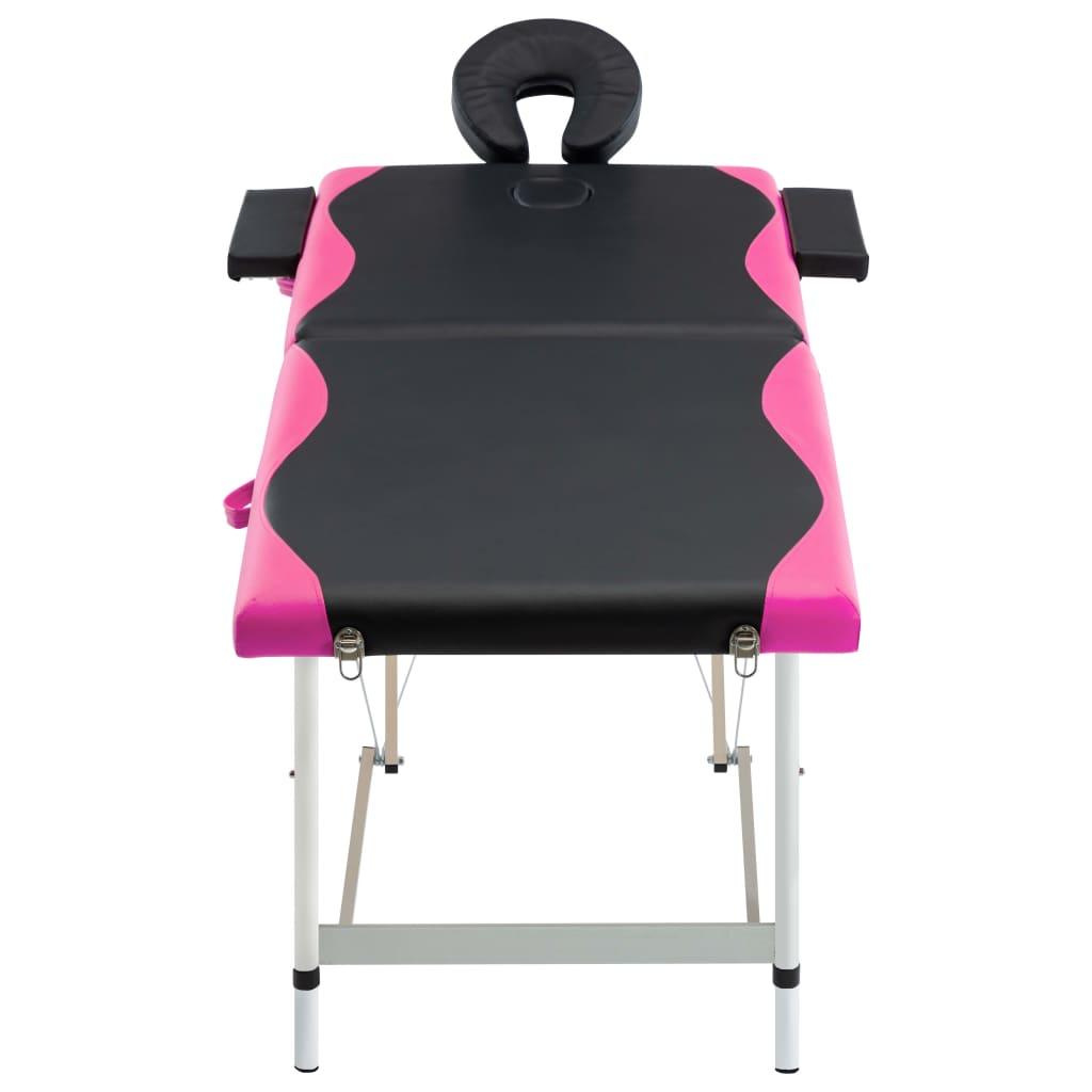 vidaXL Skládací masážní stůl se 2 zónami hliník černo-růžový