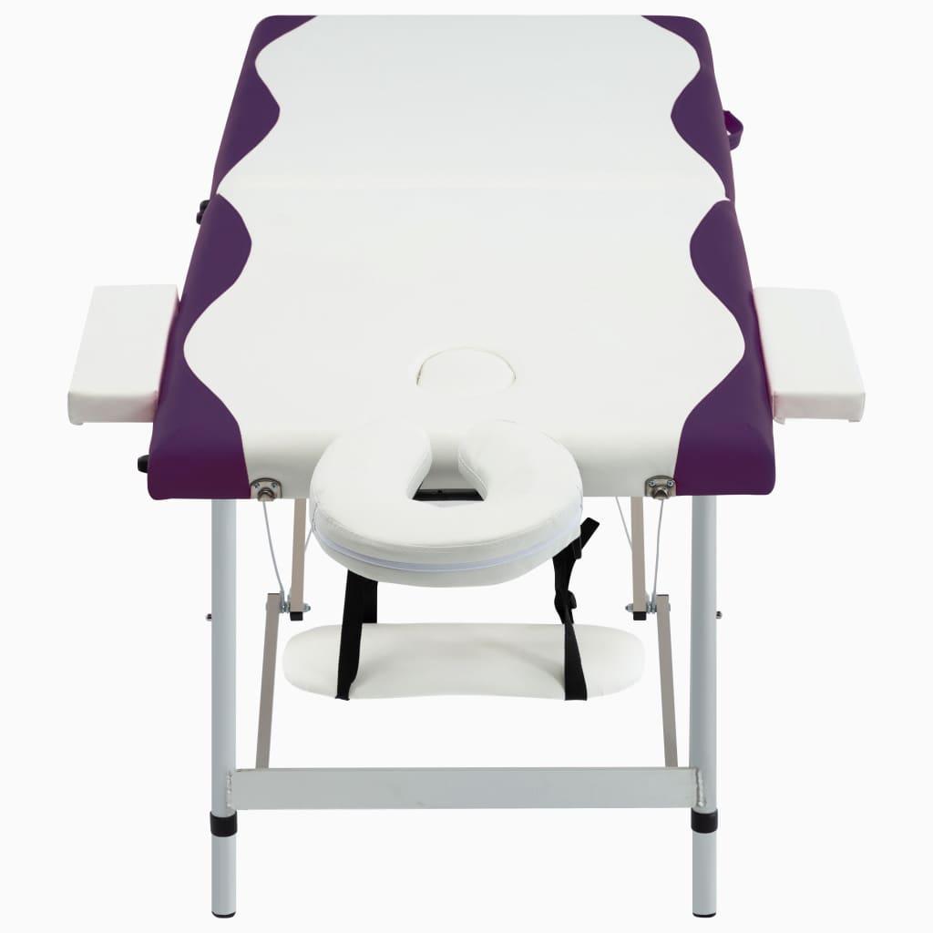 vidaXL Skládací masážní stůl se 2 zónami hliník bílo-fialový