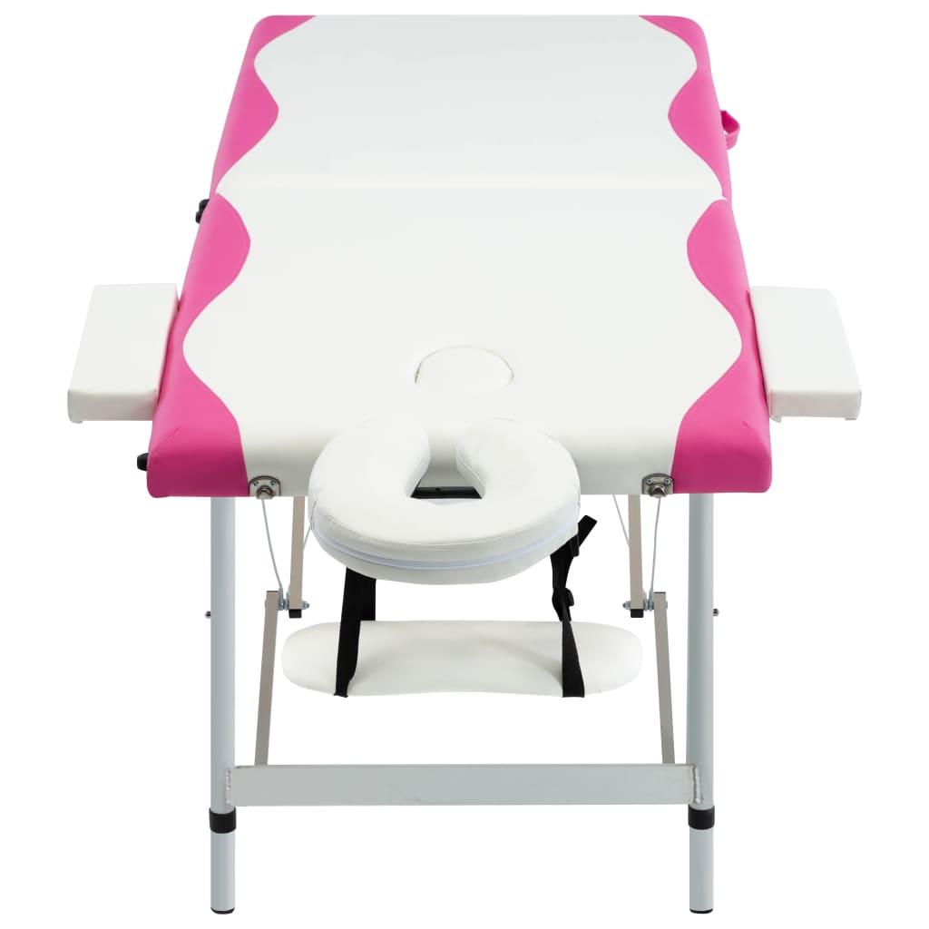 vidaXL Skládací masážní stůl se 2 zónami hliník bílo-růžový