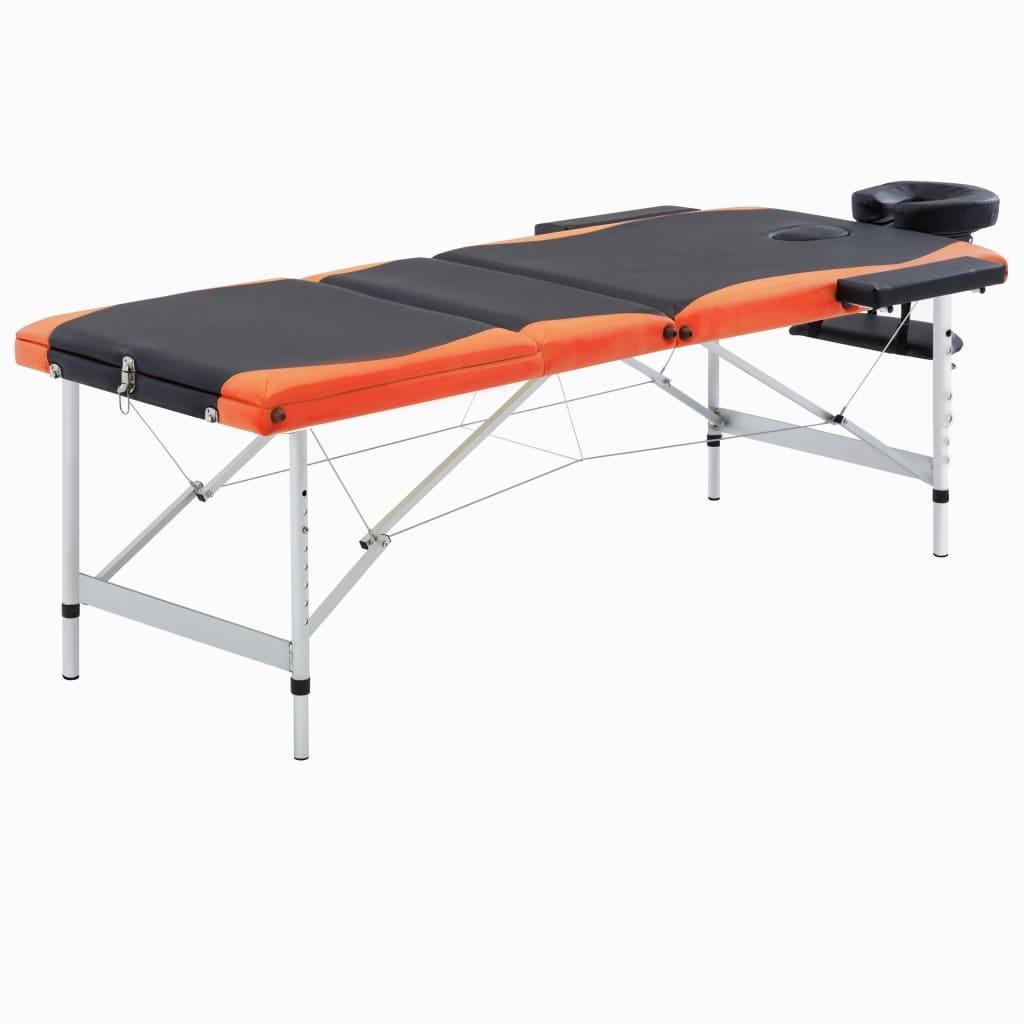 vidaXL Masă de masaj pliabilă, 3 zone, negru și portocaliu, aluminiu vidaxl.ro