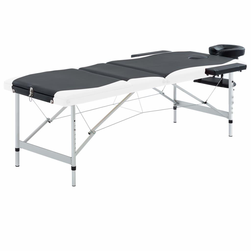vidaXL Masă pliabilă de masaj, 3 zone, aluminiu, negru și alb vidaxl.ro