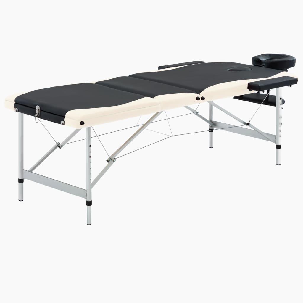 Skládací masážní stůl se 3 zónami hliník černo-béžový