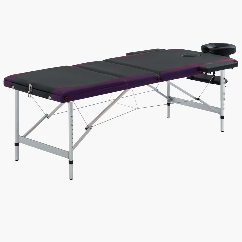 Skládací masážní stůl se 3 zónami hliník černo-fialový