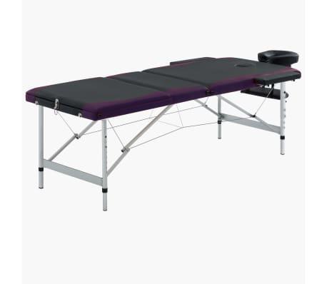 vidaXL Massagetafel inklapbaar 3 zones aluminium zwart en paars