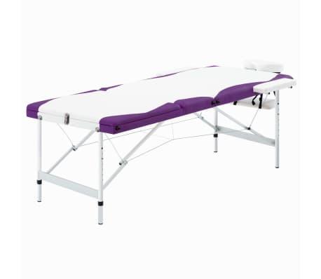 vidaXL Massagetafel inklapbaar 3 zones aluminium wit en paars