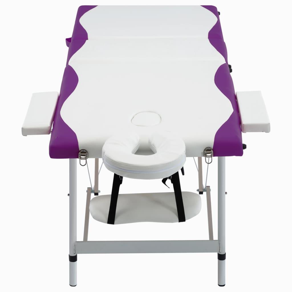 vidaXL Skládací masážní stůl se 3 zónami hliník bílo-fialový