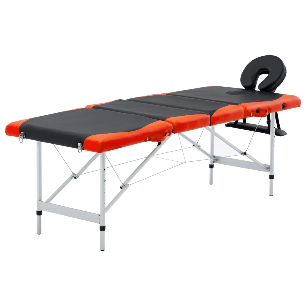 vidaXL Masă pliabilă de masaj, 4 zone, aluminiu, negru și portocaliu vidaxl.ro