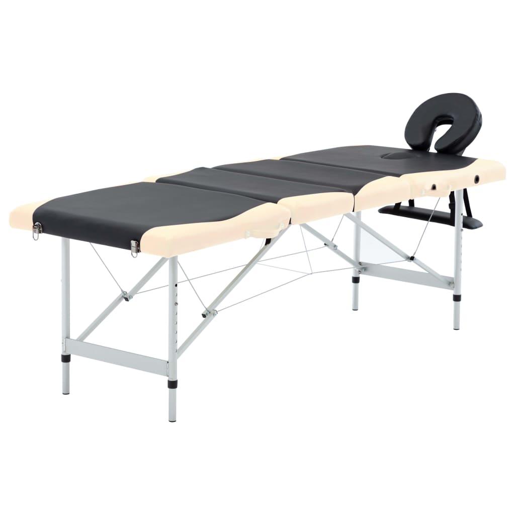 vidaXL Masă pliabilă de masaj, 4 zone, aluminiu, negru și bej vidaxl.ro