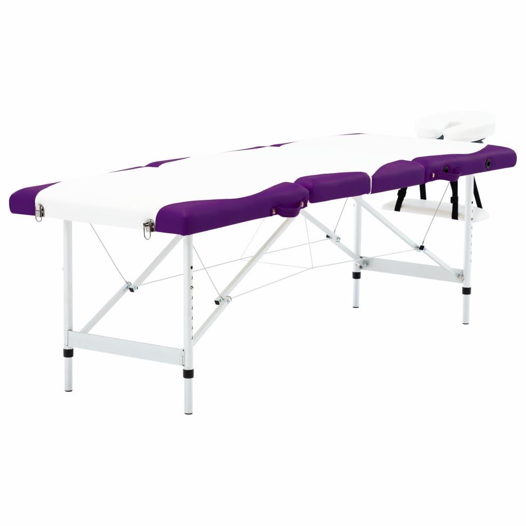 vidaXL Masă pliabilă de masaj, 4 zone, alb și violet, aluminiu vidaxl.ro