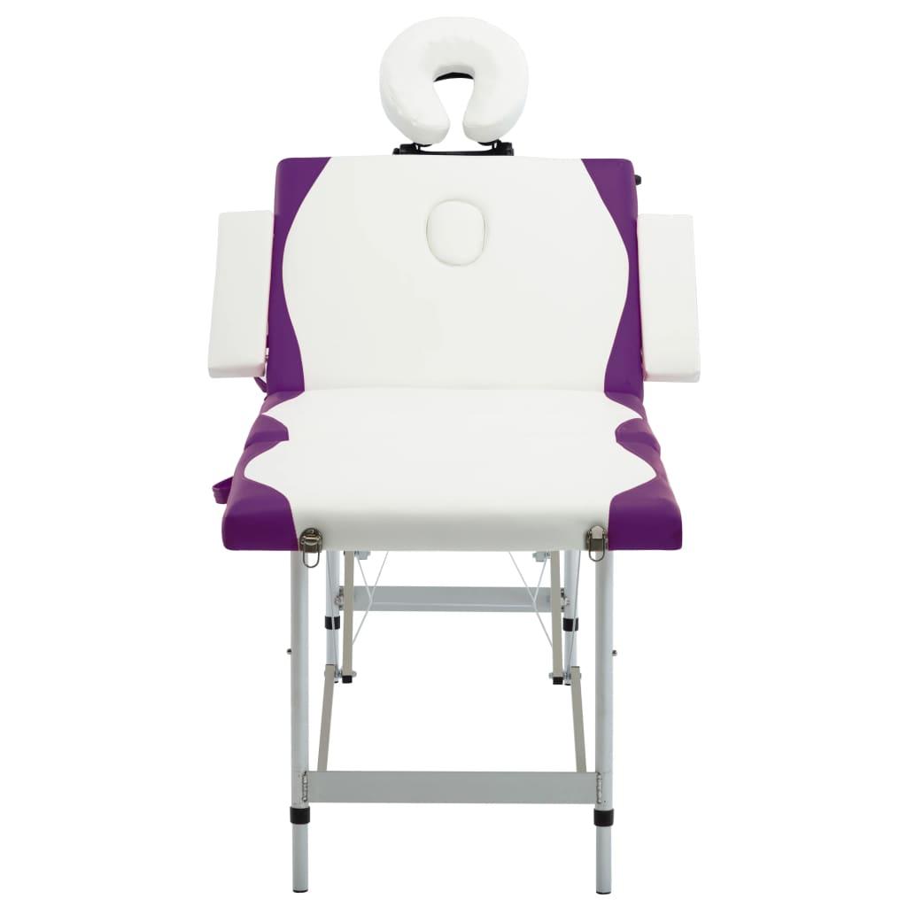 vidaXL Skládací masážní stůl se 4 zónami hliník bílo-fialový