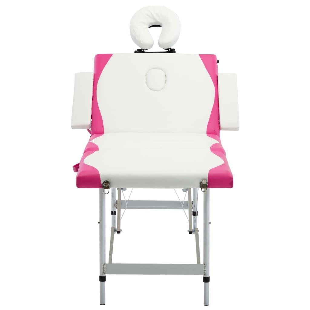 vidaXL Skládací masážní stůl se 4 zónami hliník bílo-růžový