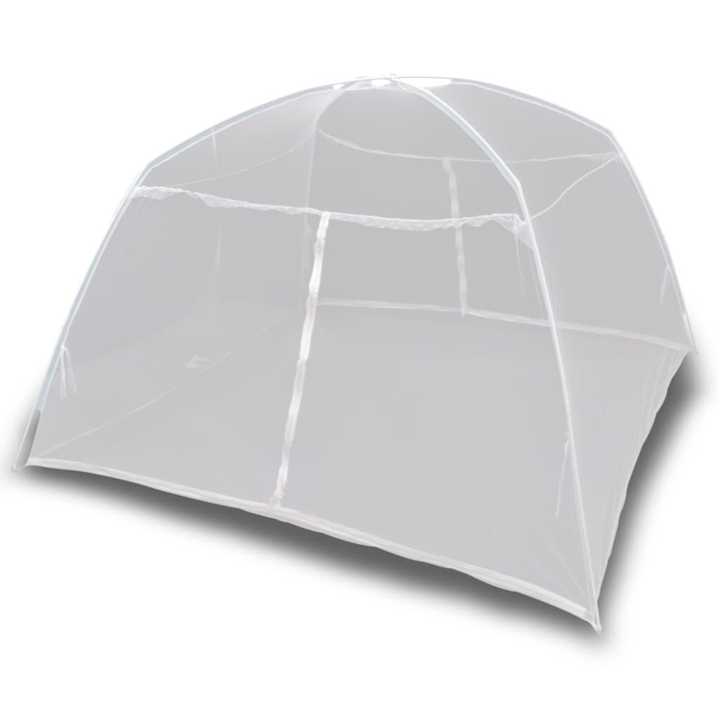 Kempingový stan 200 x 120 x 130 cm sklolaminát bílý