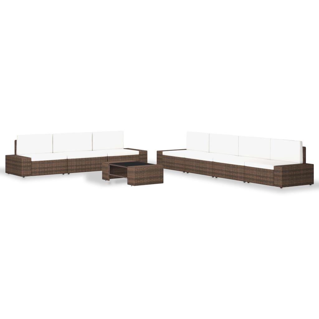 vidaXL Set mobilier de grădină, 8 piese, maro, poliratan vidaxl.ro