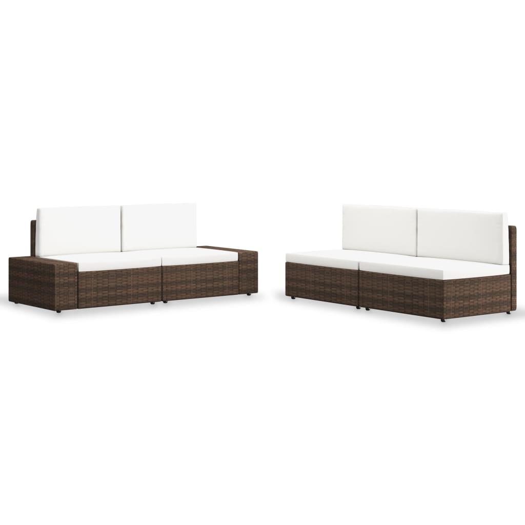 vidaXL Set mobilier de grădină, 4 piese, maro, poliratan poza 2021 vidaXL