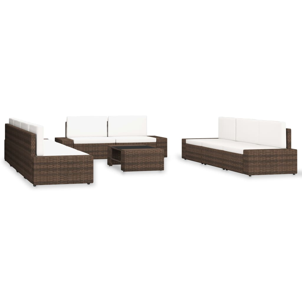 10-tlg. Garten-Lounge-Set Poly Rattan Braun