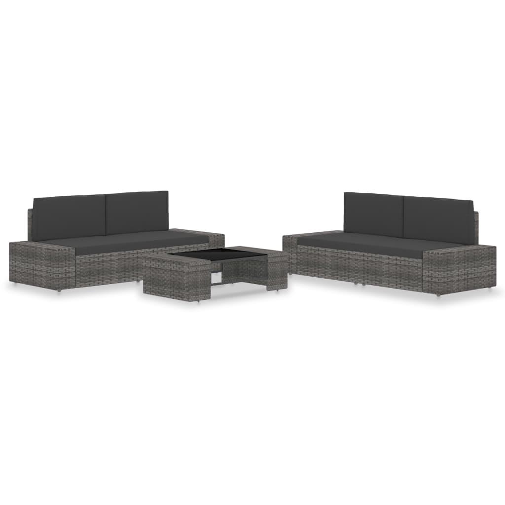 5-delige Loungeset poly rattan grijs