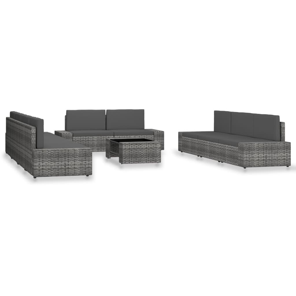 10-tlg. Garten-Lounge-Set Poly Rattan Grau