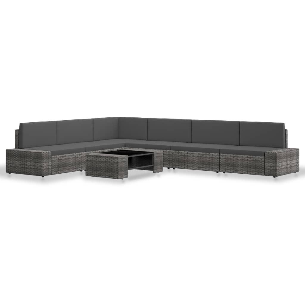 vidaXL 7-delige Loungeset poly rattan grijs