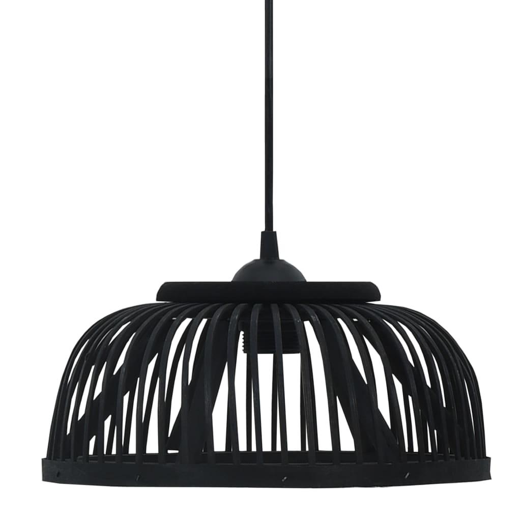 vidaXL Lampă suspendată, negru, 30x12 cm, bambus, 40 W, semicerc, E27 poza 2021 vidaXL