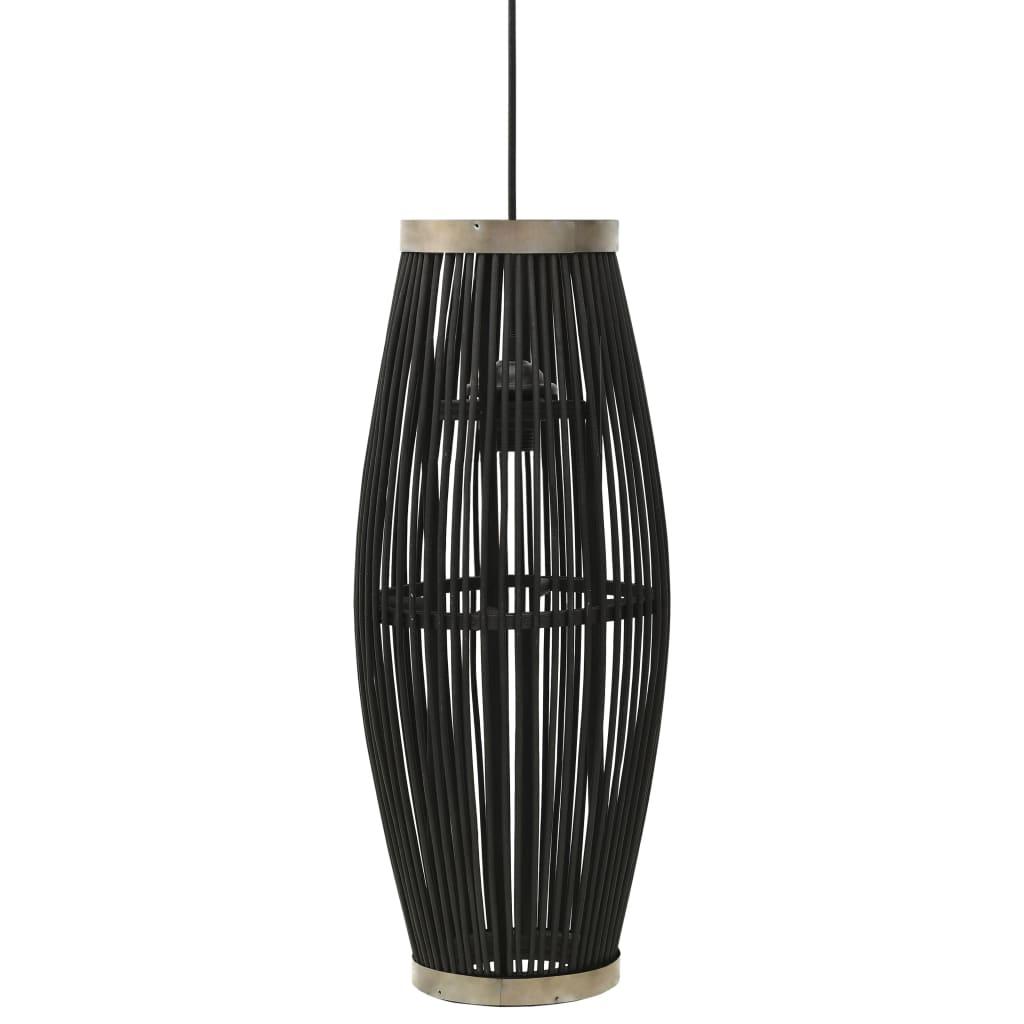 vidaXL Lampa wisząca, czarna, wiklinowa, 40 W, 21x50 cm, owalna, E27