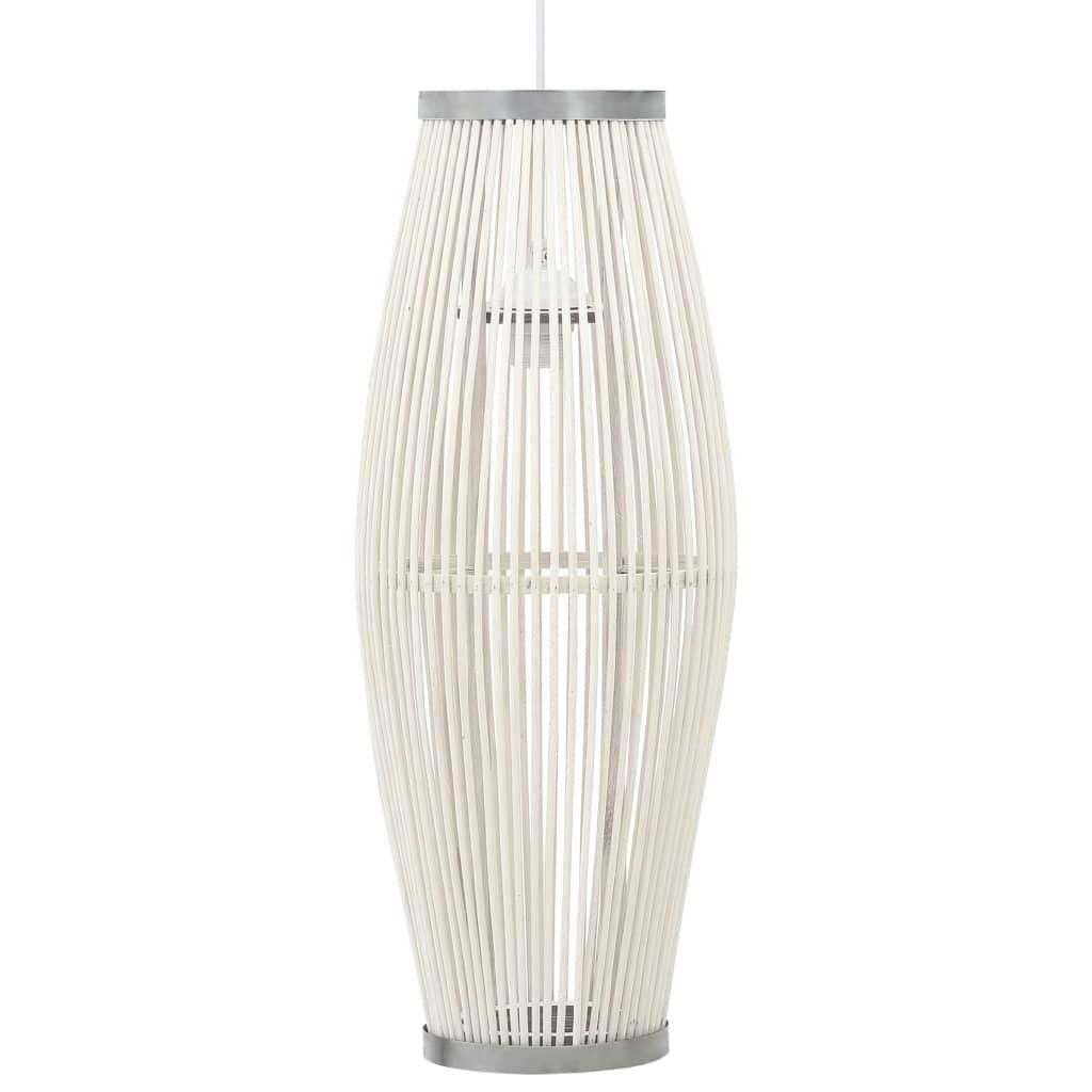 vidaXL Lampă suspendată, alb, 23x55 cm, răchită, 40 W, oval, E27 poza 2021 vidaXL