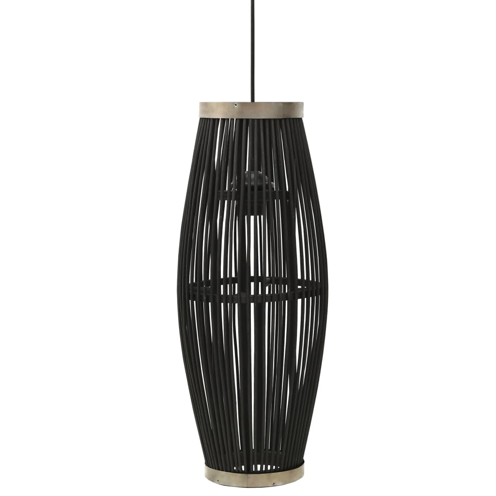 vidaXL Lampă suspendată, negru, 25x62 cm, răchită, 40 W, oval, E27 poza vidaxl.ro