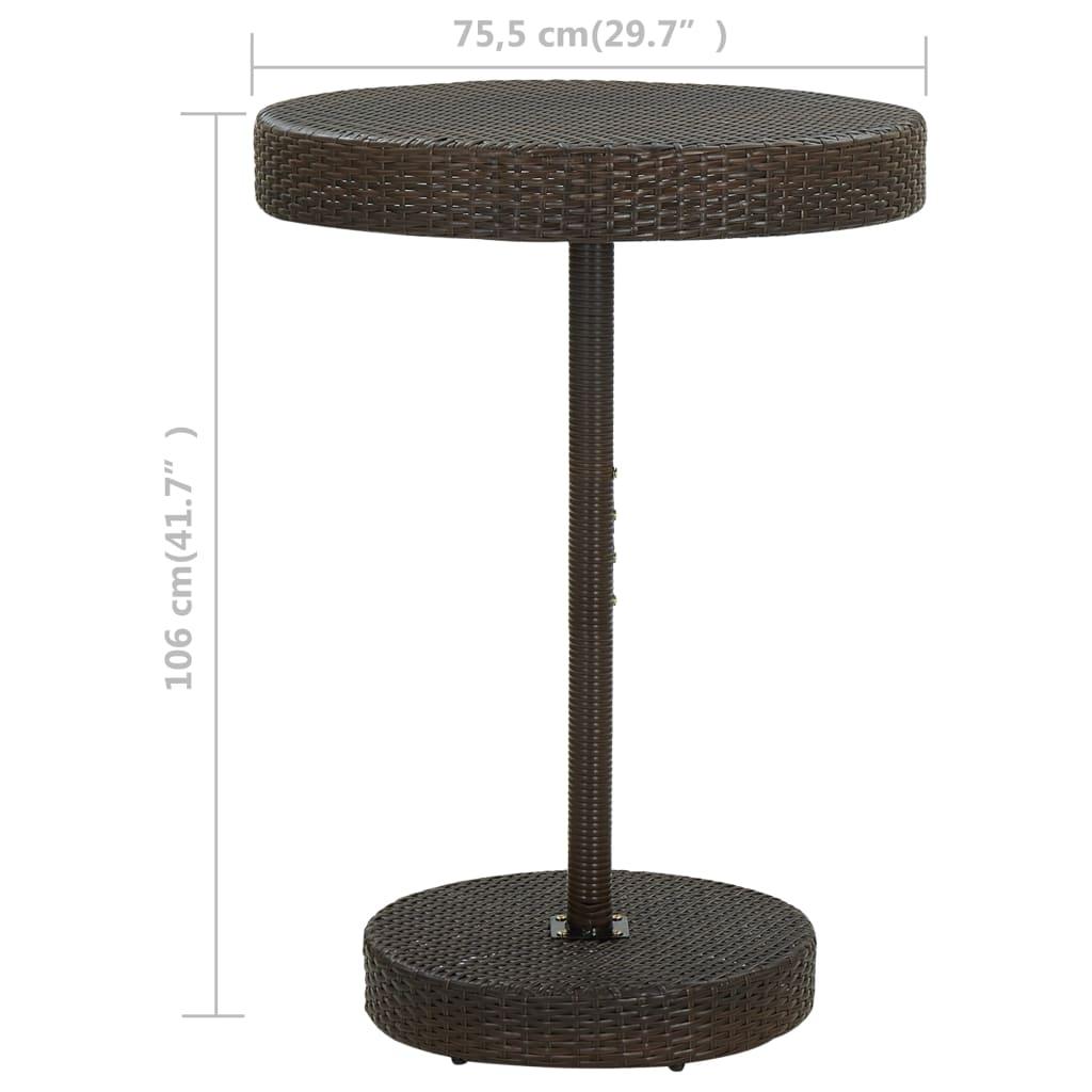 vidaXL Tuintafel 75,5x106 cm poly rattan bruin