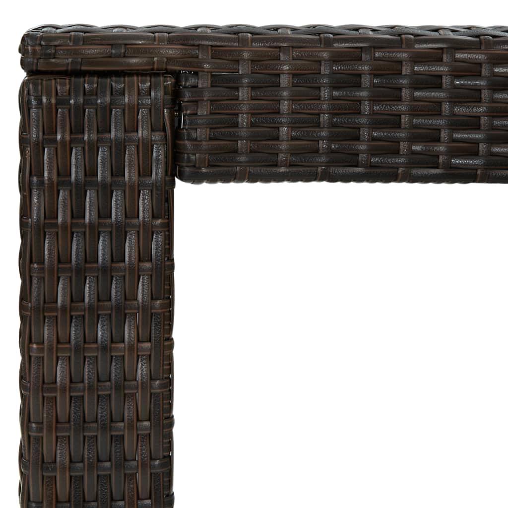 vidaXL Tuinbartafel 100x60,5x110,5 cm poly rattan bruin