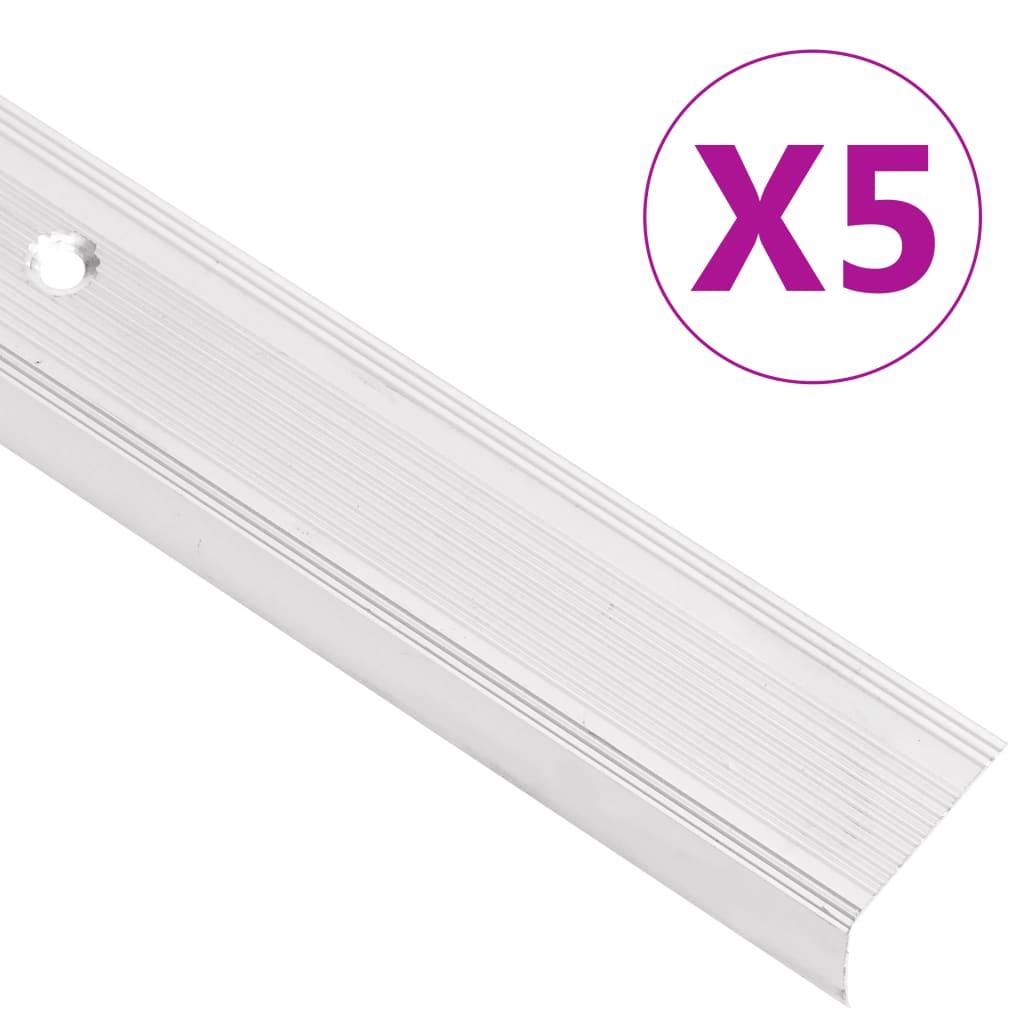 vidaXL Schodové hrany ve tvaru L 5 ks hliník 90 cm stříbrné