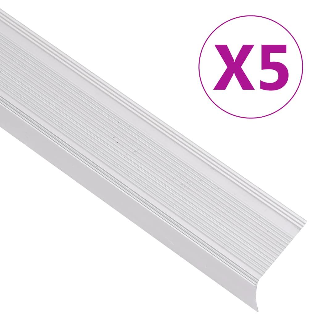 vidaXL Profile trepte în formă de L, 5 buc., argintiu, 90 cm, aluminiu vidaxl.ro